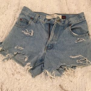 Pants - Vintage high waisted distressed jean shorts!